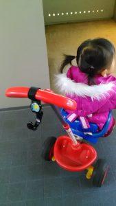 私の子供が乗っている三輪車